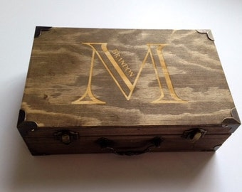 Groomsmen Gift - Laser Engraved Name - Fill With Gifts - Keepsake Chest - Stained and Personalized Wooden Box - Select Your Size - Groomsman