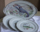 On Hold for G...Vintage Limoges Fish plates and platter, poached salmon platter, fish platter vintage, French dinnerware, Limoges dinnerware