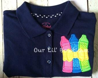 Crayon Shirt - Polo - School Shirt - Preschool Shirt - Kindergarten Shirt - Girl Back to School Shirt - Personalized Polo - Uniform