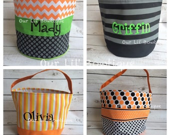 Personalized Halloween Buckets - Monogrammed- Halloween Bag - Trick or Treat Bag - Limited Quanitities