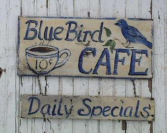 Blue Bird Cafe Sign... Customize It