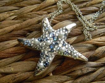 Silver Starfish Necklace,  Beach Wedding , Silver Plate Ocean Gifts, Starfish Jewelry, Rhinestone Starfish Pendant, Nautical Pearl Sea Star