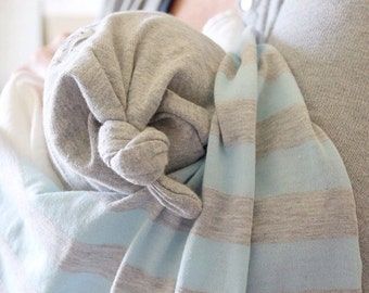 Baby boy blanket. Stretchy swaddle style. Blue and gray stripes with gray trim. Made by Amy, Lippy brand. Baby boy accessory. Boy swaddle.