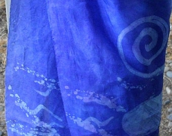 Vintage Silky Scarf, Ocean abstract print fashion scarf blue, purple, pink, career apparel, decorative scarf, table scarf, tablecloth