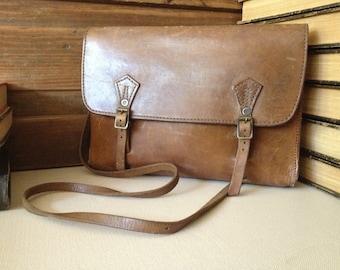 Mini Briefcase Saddlebag Leather Satchel Chestnut Brown Leather Crossbody Messenger Handbag