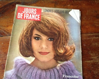 1960s French Fashion Magazine, Jours de France, MCM Womens Magazine, 1960s Advertising Gossip Royals, Francoise Dorleac Jackie Kennedy