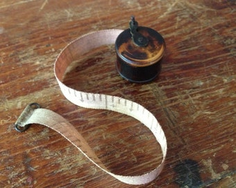 Antique Sewing Tape Measure, 19th C Treen Box Wood Brass Miniature, Rare Collectible