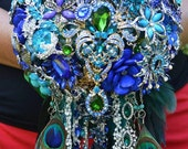 SALE! FULL PRICE Ready to Ship Cascading Peacock Brooch Bouquet Cobalt Blue Teal Purple Green Gold Silver Broach Bouquet