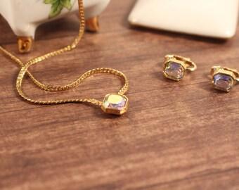 Avon Aurora Borealis Necklace and Clip Earring Set - Vintage 1981