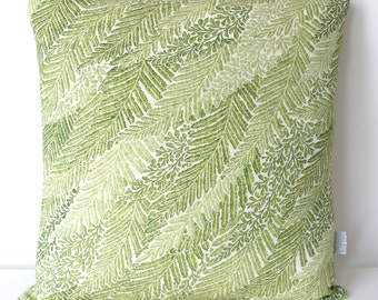 Green Leaf Foliage Fern Cushion in Rare Vintage Japanese Kimono Silk 35x35cm + Feather Pad