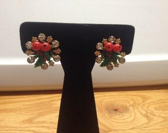 Vintage Goldtone Mistletoe with White Rhinestone Clip On Design Earrings