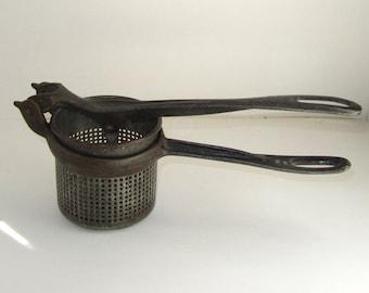 Antique Potato Smasher Masher Ricer Cast Iron 1800s