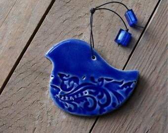 Blue Bird of Paradise ceramic hanging bird