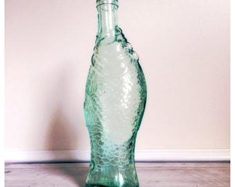 Green glass fish bottle /  supply bottle / coastal living / lake living / nautical decor / mint green fish bottle / lake house / man cave