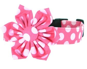 Pink Polka Dot Flower Dog Collar/ Dog Collar Flower Set: Cotton Candy Dot