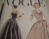 Vintage 1950's Vogue 9185 Dress Sewing Pattern, Size 12, Bust 32