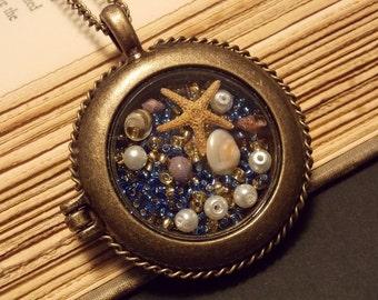 Blue and Bronze Seascape Pendant Necklace