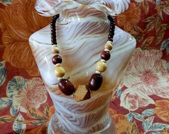 Collier billes de bois / Wood bead necklace