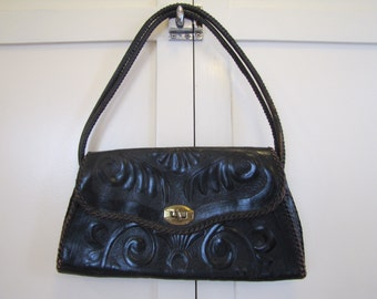 1960's Tooled Black Leather Purse, Purse, Leather, Tooled, 1950's, 1960's, Black, Handbag, Pocketbook, Boho, Hippie, Bohemian