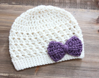 Little Girl Cream/Ivory Hat with Purple Bow, Baby Girl Hat, Toddler Girl Hat