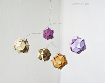 Lavender inspired paper balls, hanging mobile , kinetic home decor