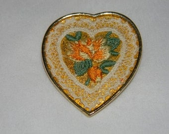 1950's Exquisite Gold Tone Hand Embroidered Heart Brooch