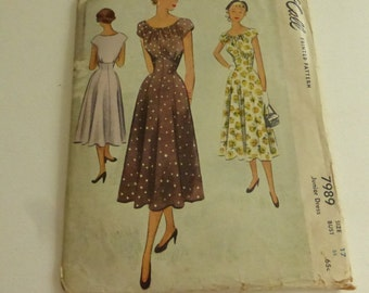 Antique McCall Pattern 7989 Junior Dress Size 17 Factory Fold