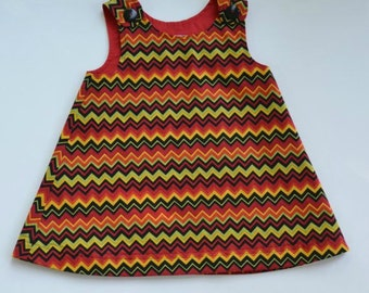 Toddler or girl A-line dress, toddler jumper, chevron stripes, party dress, back-to-preschool jumper, girl's lined dress, sizes 1T - 5,