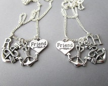 2 Anchors, Initial Friends Necklaces