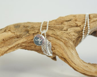 Tiny Feather,Silver Necklace,Engraved Initial Pendant,personalized jewelry,Talisman,personalised,birthday gift,for girls,engraving,luck