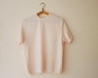 Vintage Short Sleeve Sweater/Soviet Vintage Sweater/Pale Pink Sweater/Rhombus Ornament Sweater/Vintage Sweater/Summer Sweater/1970s Style