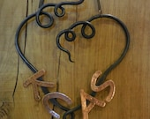 Forged Steel heart with copper letters