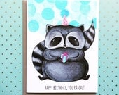 Rascally Raccoon Birthday Card