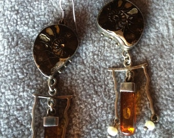 Sale - Vintage Ammonite, Amber & Pearl Chandelier Earrings