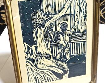 Vintage Modernist Pen and Ink Print Mother and Child Signed Limited Edition, Vintage Art Deco Frame