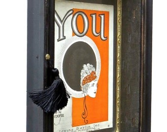 """Black, 18"""" Shadowbox, Wall Art Display Cabinet, with Vintage Framed Sheet Music, 'YOU' by Irving Berlin Publishers, Art Nouveau 1930s"""