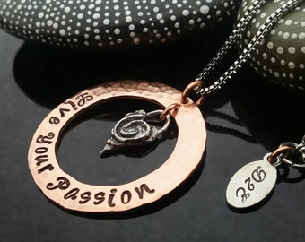 D2E hand stamped mixed metal necklace live your passion