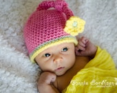 READY To SHIP! Newborn Pink Knot Flower Crochet Hat - Spring Flower Hat - Crochet Spring Hat - Newborn Hat - Baby Crochet Hat