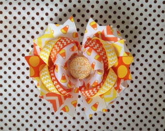 Ready To Ship Hairbow, Candy Corn Hairbow, Halloween Hairbow, Trick Or Treat Hairbow, Fall Hairbow, Chevron Boutique Hairbow