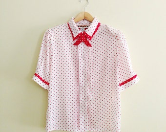 Vintage Polkadot Lady Tie Collar Blouse // Retro Red & White Secretary Shirt // Double Contrast Collar Short Sleeve Shirt // 40s Style // 19