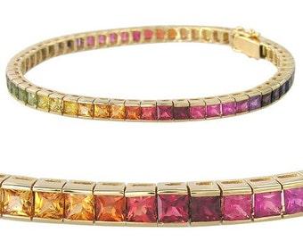 Rainbow Sapphire Tennis Bracelet 18K Yellow Gold (16ct tw) : sku 622-18K-YG