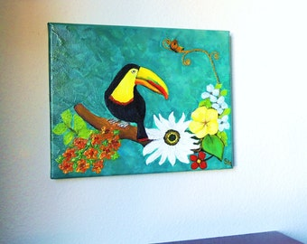 Toucan love oil painting by Bannerandsail