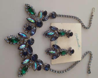 1950s Vintage DeLizza & Elster JULIANA Rhinestone Necklace Earring Set Stunning