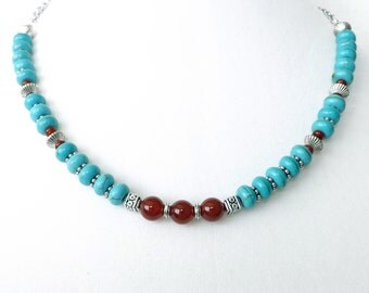 Turquoise Necklace, Turquoise Carnelian Necklace, Southwest Necklace, Layering Necklace, Native American, Set with Bracelet, Boho Jewelry