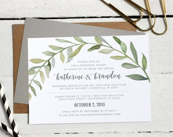 Watercolor Botanical Wreath Rehearsal Dinner Invitations • Formal, Modern Custom Invites • Calligraphy Rehearsal Invitation • Printable File