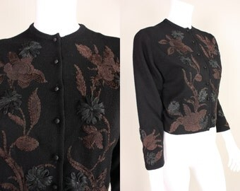 Vintage 1950's Helen Bond Carruthers Cardigan Embroidered
