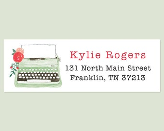 Typewriter Return Address Labels, Vintage Typewriter Address Label, Holiday Return Address Labels, Christmas Address Label, Holiday Sticker