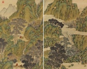 Antique Japanese Fine Art Wall Hanging Scroll Painting A pair of scroll Kakejiku Landscape – 1505033