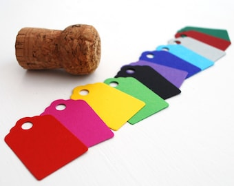 Small Recycled Tags, Bright colour Swing or Hang Tags, Price Tags, Sets of 60, 120 or 180