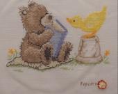 Popcorn Teddy Bear - Completed Cross Stitch Decoration